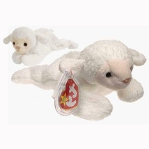 Fleece The Lamb Retired Ty Beanie Baby and Buddy Set MWMT Collectible - $24.70