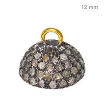 .98ct Diamond Pave Bead Cap 14k Yellow Gold 925 Sterling Silver Findings... - $163.31