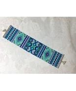 Bracelet Cuff Medium Sized Handmade Bead Woven Geometric Pattern Aqua Pu... - $40.00