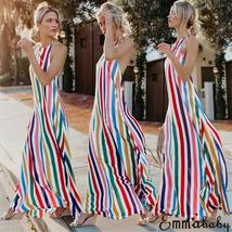 Women's Trendy Summer Rainbow Stripe Maxi Sundress image 6