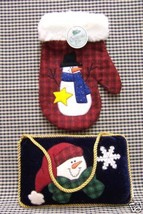 SNOWMAN HOLIDAY DECORATIONS APPLIQUED  PILLOW & MITTEN - £9.94 GBP
