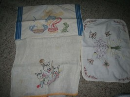 Vintage Hand Embroidered Dish Towels & Placemat - $16.82