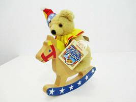 APPLAUSE Bears in Toyland Teddy on a Wood Rocking Horse Plush Stuffed An... - $12.50