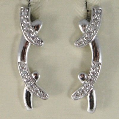 SOLID 925 STERLING SILVER PENDANT EARRINGS WITH CUBIC ZIRCONIA CURVED BAR, BRAID