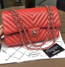 100% AUTH Chanel RARE Coral Red Lambskin Chevron Medium Double Flap Bag SHW