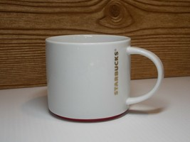 2012 Starbucks WHITE RED AND GOLD 16oz Ceramic Coffee Mug - $12.99