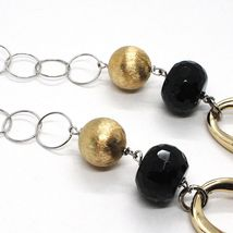 Silver necklace 925, Onyx, Oval Corrugated, Spheres Satin, Chain Rolo image 6