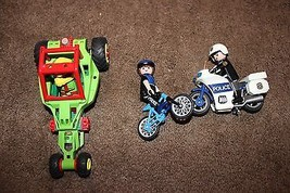 Playmobil green Race Car with Driver, Police figures with Motorcycle Bicycle - $17.77