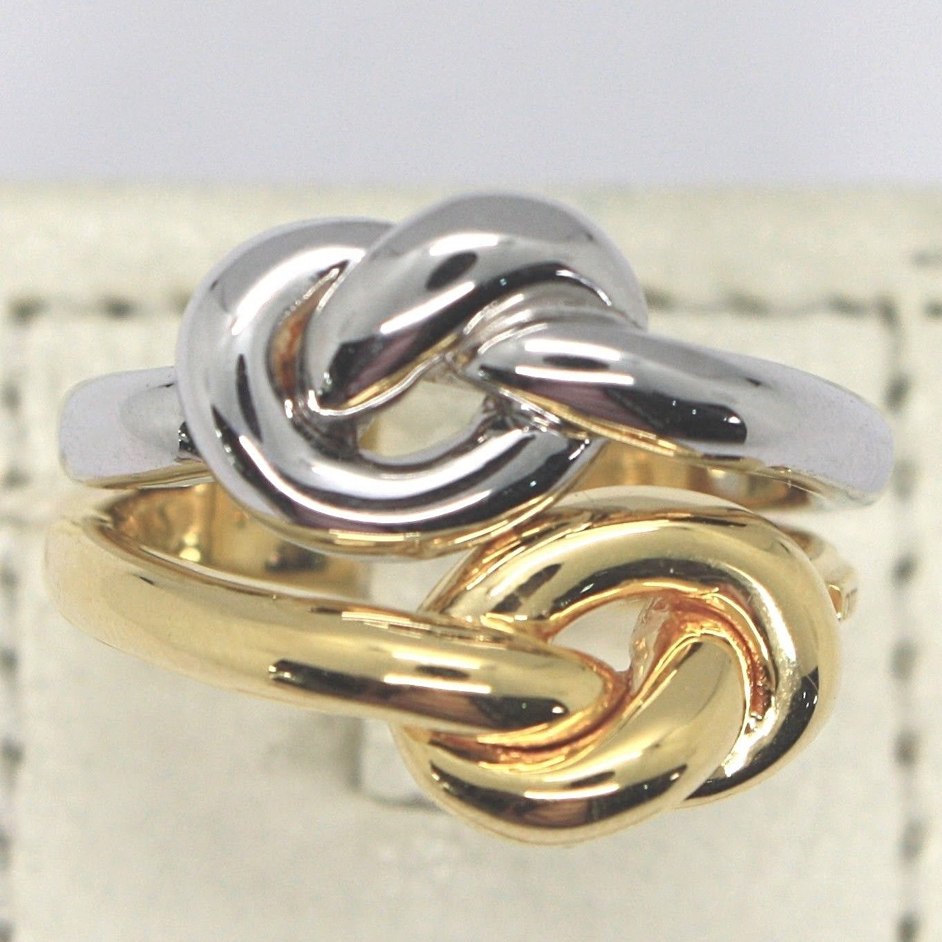 YELLOW GOLD RING WHITE 750 18K, DOUBLE KNOT, INFINITY, MADE IN ITALY