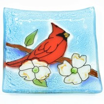 Fused Art Glass Red Male Cardinal Bird Design Square Soap Dish Handmade Ecuador