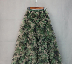 Army Pattern Layered Tulle Skirt Outfit Lady High Waist Tiered Maxi Tulle Skirt  image 5