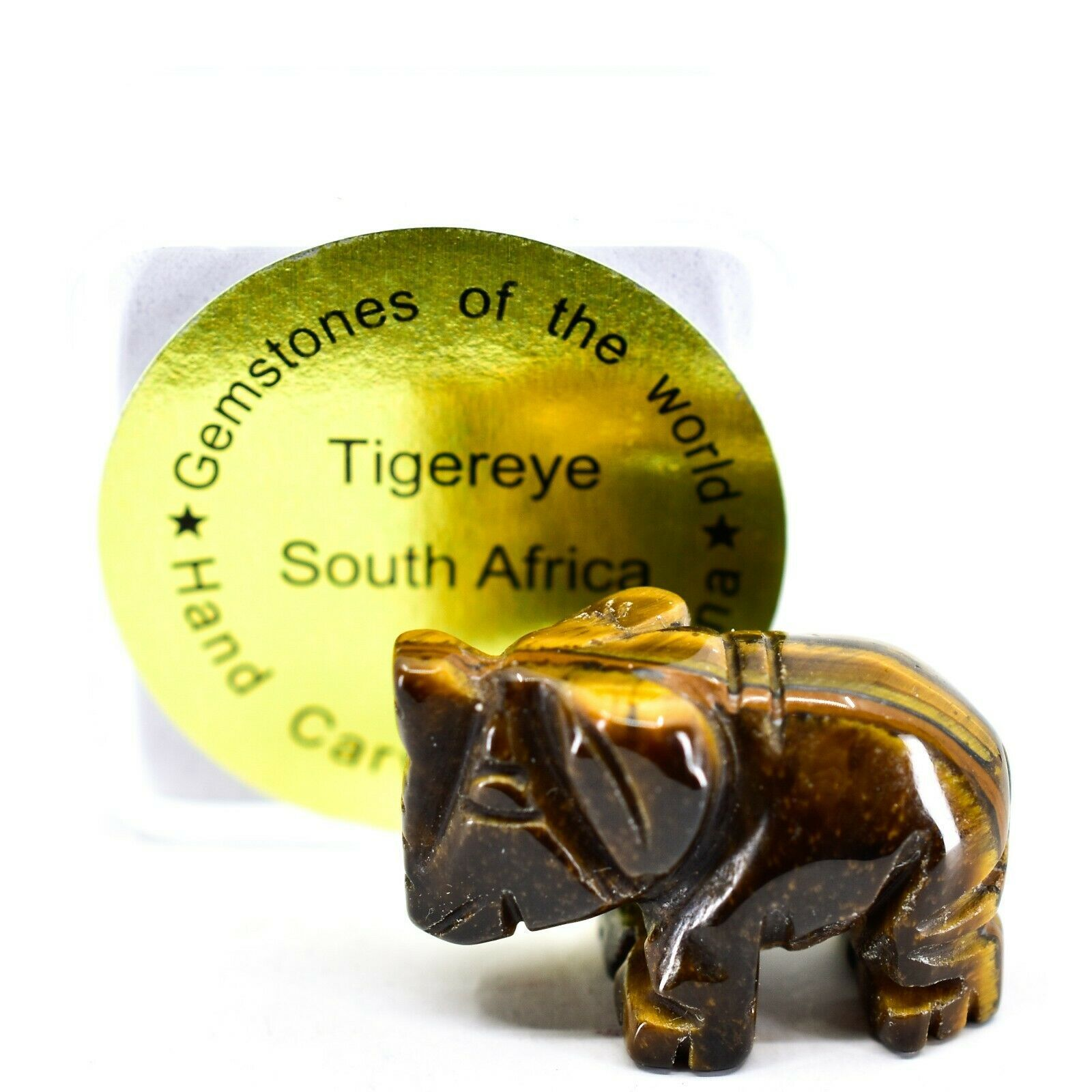 Tiger's Eye Gemstone Tiny Miniature Elephant Figurine Hand Carved in China