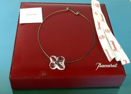 Authentic BACCARAT Hortensia Crystal Flower Necklace Choker Accessories w/ Box  - $167.31
