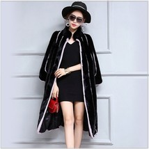Black And Lavendar Moonlight Contrast Long Scalloped Mink Faux Fur Luxury Coat image 2