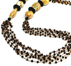 """ROSE NECKLACE BLACK, ORANGE SPOTTED DROP OVAL MURANO GLASS, MULTI WIRES 35"""" LONG image 2"""