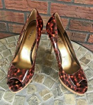 Nine West Leopard Peep Toe Pumps Size 7.5 Cork Heel Dress Shoes Stiletto... - $19.60