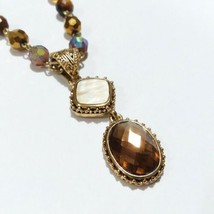 Cookie Lee Pendant Necklace Tigers Eye Mother Of Pearl Faceted Glass Bead R49 - $16.83