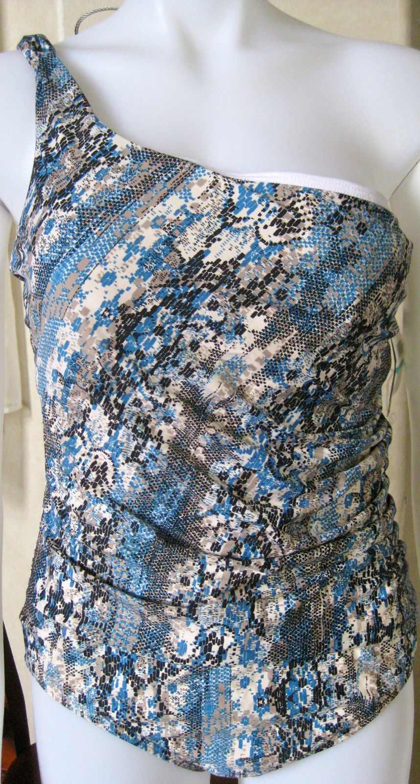 Primary image for Jantzen Swim Essence One Piece RUCHED SZ ONE SHOULDER BLUE WHITE TAN BLACK NWT