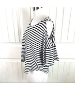 Anthropologie Elodie Black Cream Stripe Cold Shoulder Knit Tee Top Size ... - $19.79