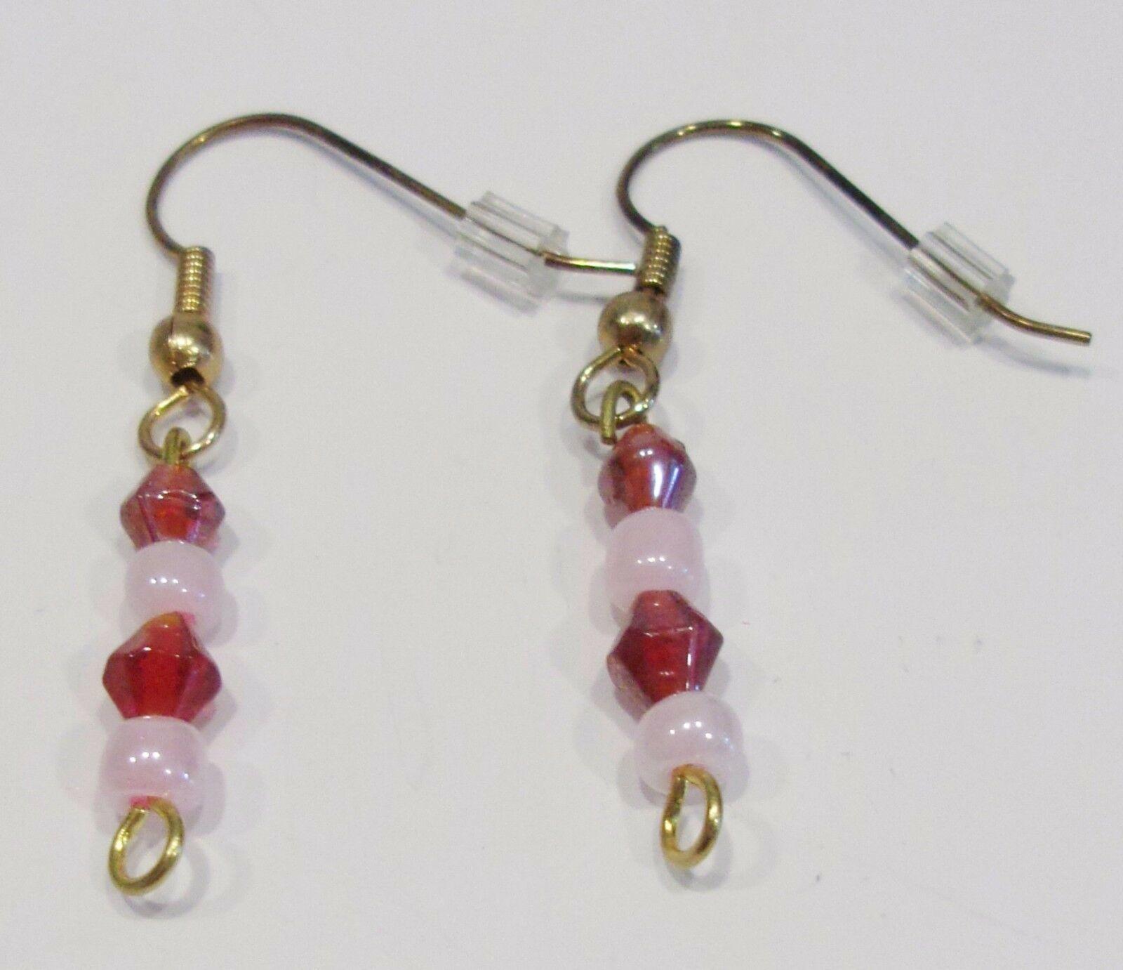 handmade red & pink beaded dangle earrings