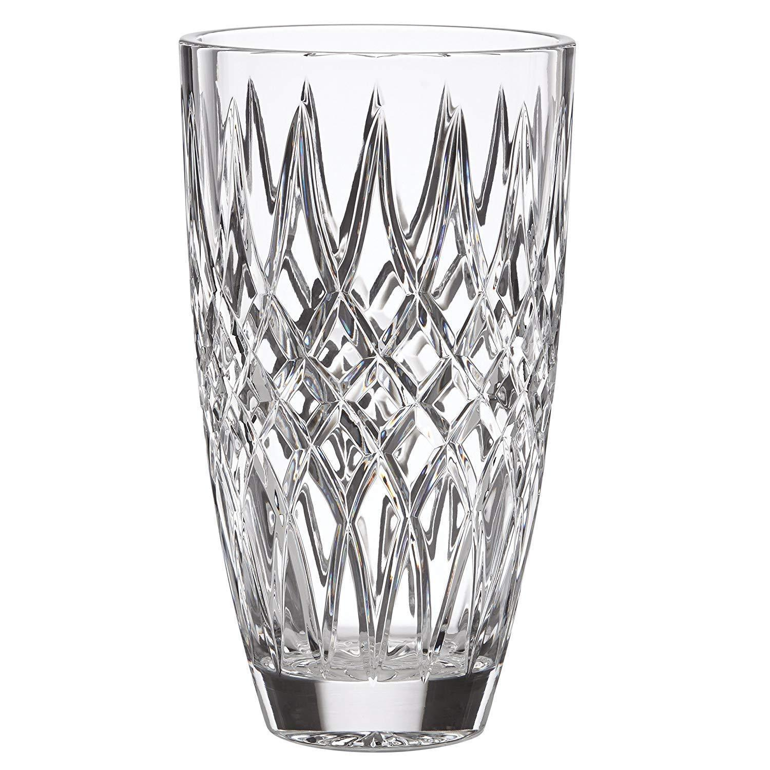 "Lenox Irish Spring Mackenna Crystal Vase Hand Cut Diamond 10"" Ireland Gift NEW"