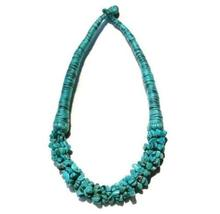 Turquoise Gemstone Chip Necklace - Hand Wrapped Turquoise Cotton Cord Ch... - $29.70