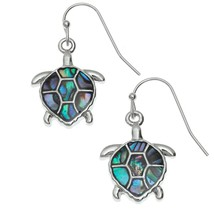 Sea Turtle Shell Earrings Abalone Paua Silver Fashion Jewellery + Gift Box - $16.65