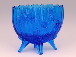 Vintage Fenton Art Glass Colonial Blue Rose Line Oval Footed Vase