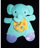 "Bright Starts ELEPHANT 9"" Security Blanket  Soft Toy Crinkle Blue Teethe... - $13.52"