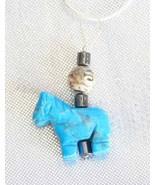 Judy Strobel Elegant Carved Turquoise Howlite Horse Sterling Pendant Ne... - $19.95