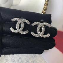 AUTHENTIC CHANEL CRYSTAL LARGE CC LOGO RHINESTONE EARRINGS SILVER