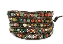 Blueyes Collection 'x Hot Mix Color India Agate Bead Stainless Steel Snap Button - $39.99