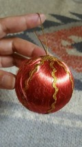 Vintage Antique Red Silk Christmas Tree Ornament w Gold ribbon • Old • N... - $5.14