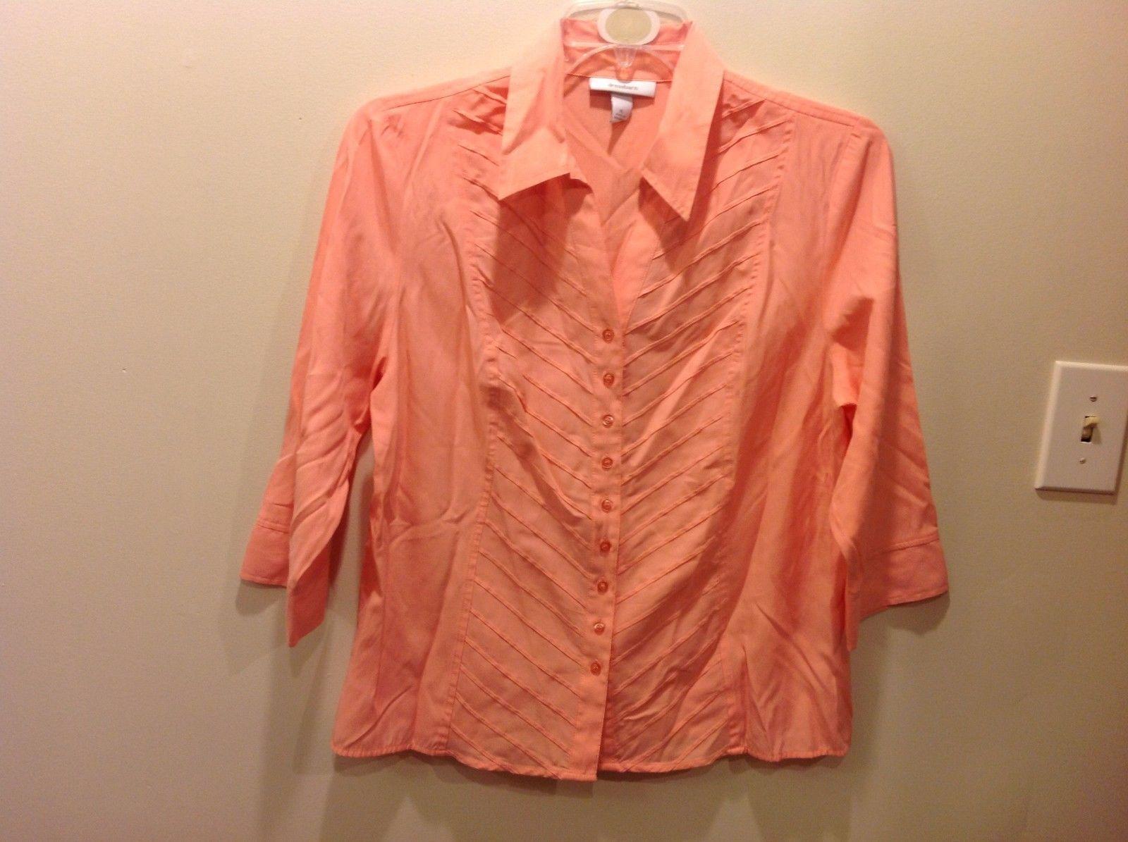 Bright Peach Pink Button Up Blouse w Diagonal Striped Pattern Sz XL