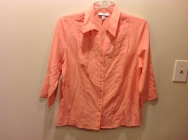 Bright Peach Pink Button Up Blouse w Diagonal Striped Pattern Sz XL