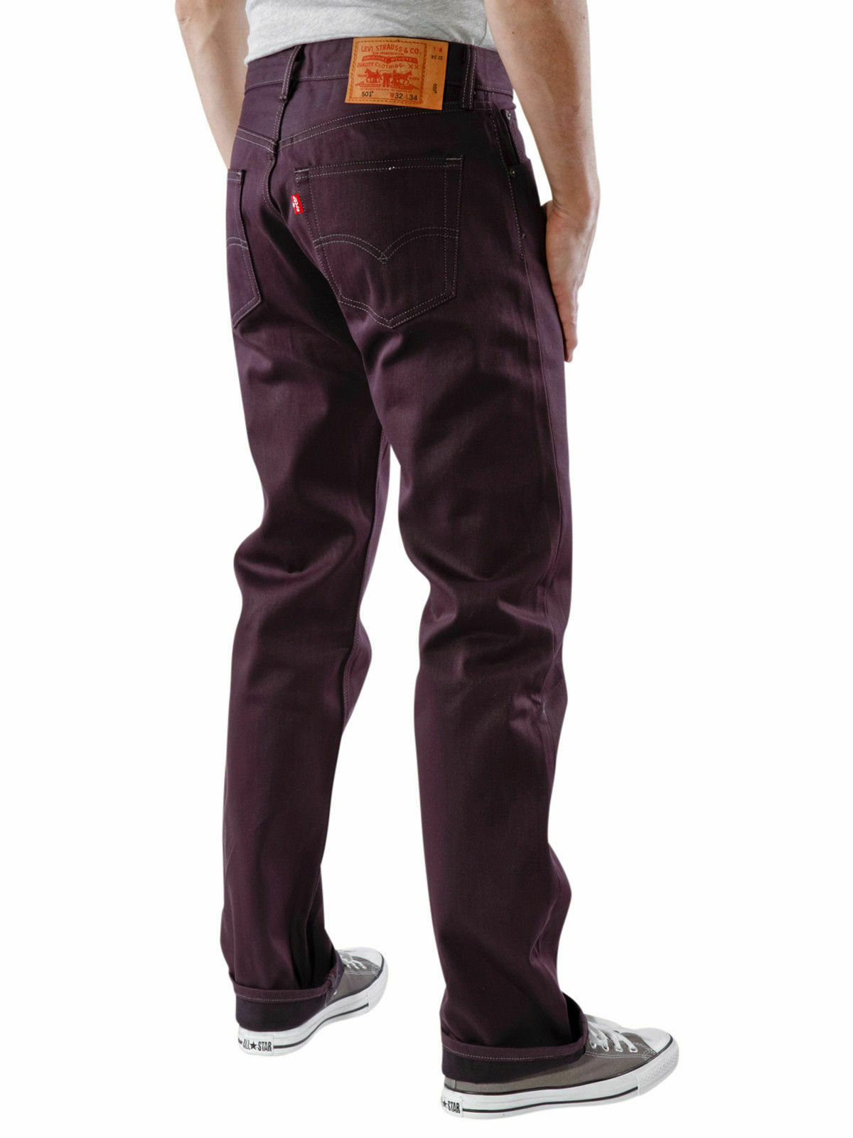 New Levi's Strauss 501 Men's Original Straight Leg Eggplant Ridid Jeans 501-1498