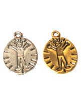 BOY DISC OVAL FINE PEWTER PENDANT CHARM