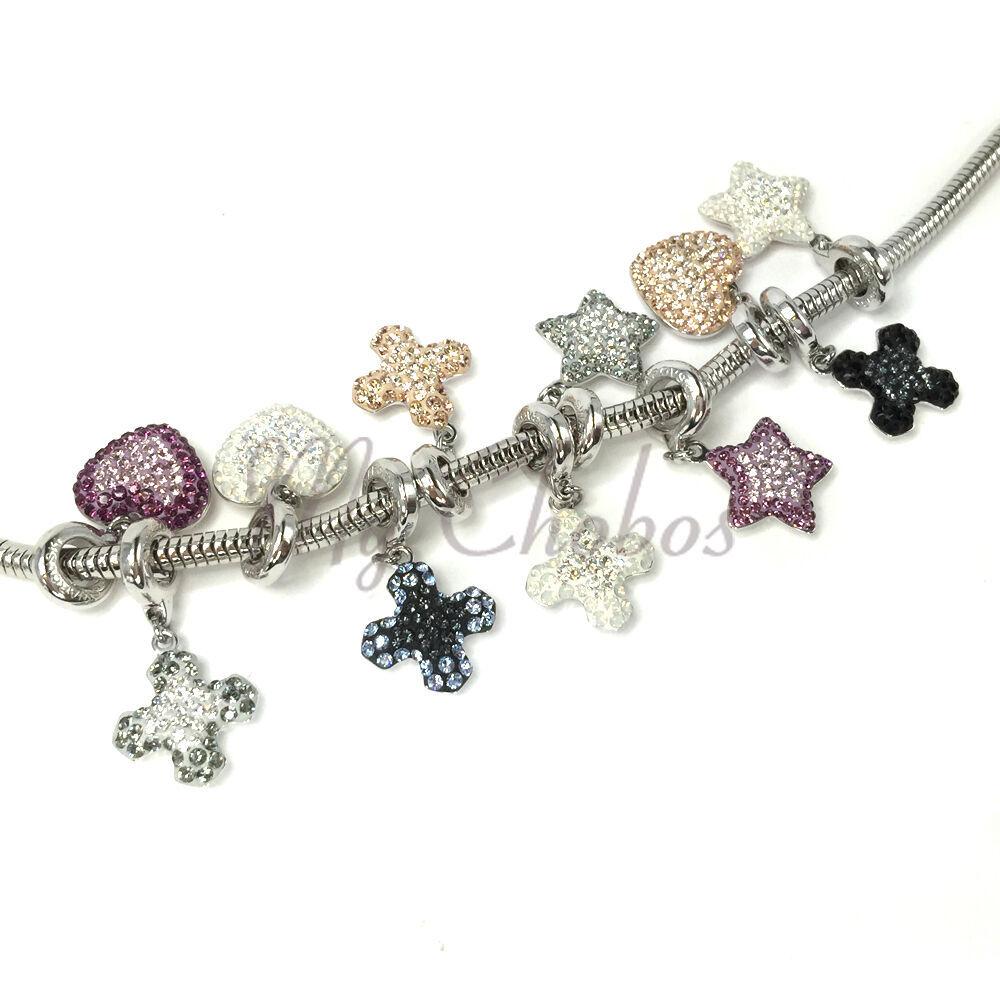 Swarovski European Hang Bracelet Charm Stainless Steel BeCharmed Pave Crystal image 2