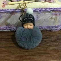 Doll Keychain Cute Fluffy Sleeping Baby Pompom Car Key Ring Holder Bag O... - $9.49