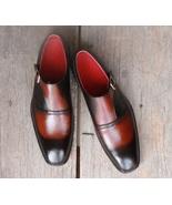Men's Handmade Black Brown Leather Shoes, Men's Monk Strap Designer Form... - $144.99+