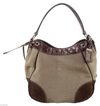 PRADA Bag Tote Saffiano Canvas Leather Monogram Brown Alligator - $1,732.50
