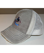 Vancouver Canucks 40% Leather Hat Cap One Size Molson Canadian Faux Fur ... - $35.46
