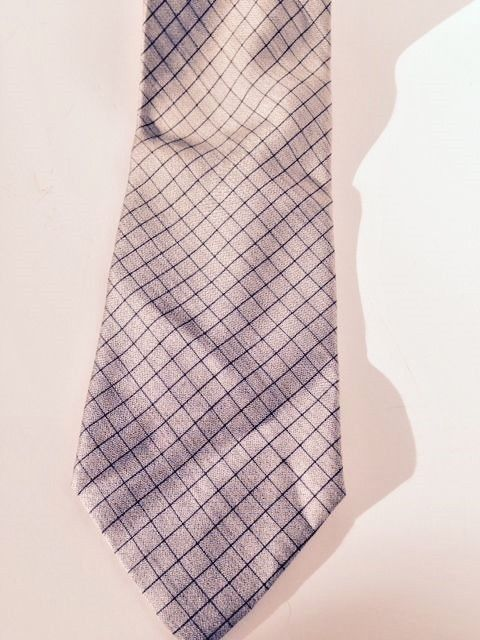 Primary image for Men's Necktie by Geoffrey Beene silver/black geometric check 100% silk , Italian