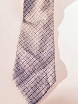 Men's Necktie by Geoffrey Beene silver/black geometric check 100% silk , Italian - $7.69