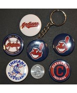 """Set of 5 1 1/2"""" Pinback Buttons Cleveland INDIANS + Key Chain Retro Keyc... - $6.79"""