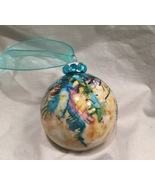 Hand Painted Drip Alcohol Ink Glass Christmas Ornament Pink Blue Yellow ... - $9.99