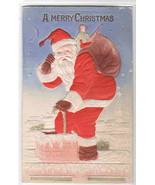 Santa in Chimney Christmas Bas Relief Air Brushed 1910c postcard - $11.88