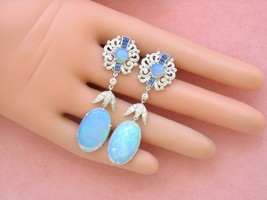 ANTIQUE STYLE DIAMOND SAPPHIRE BIG OVAL OPAL DROP STUD DANGLE COCKTAIL E... - $6,232.05