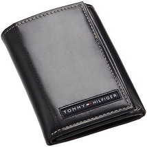 Tommy Hilfiger Men's Premium Leather Credit Card Id Wallet Trifold Black 5676-1