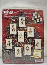 Janlynn Christmas Folk Art Snowmen Ornaments Counted Cross Stitch Kit #2... - $18.95
